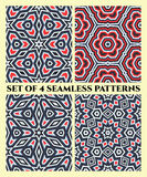 Seamless patterns of different geometrical shapes in red, grey, white and black shades Stock Photography