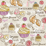 Seamless Patterns with different sweetmeats. Royalty Free Stock Photography