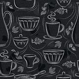 Seamless patterns with different tableware, flower, cup, pan on blackboard. Ideal for printing onto fabric and paper or scrap. Booking stock illustration