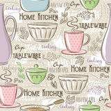 Seamless Patterns with different tableware,flower, cup, pan Royalty Free Stock Image