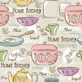 Seamless Patterns with different tableware,flower, pot,cup Royalty Free Stock Photos