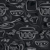 Seamless patterns with different tableware, flower, pot, saucepan, cup on black chalkboard. Ideal for printing onto fabric and. Paper or scrap booking royalty free illustration