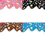 Seamless patterns of donut cream with sprin, vector. Collection of seamless patterns of donut cream with sprinkles, vector Royalty Free Stock Images
