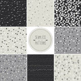 Seamless patterns with dots,arrows,hearts,stars,tr royalty free stock photo