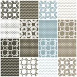 Seamless patterns: dots, circles and waves Royalty Free Stock Images