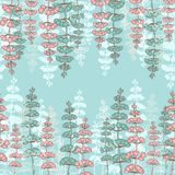 Seamless Patterns with Drawing sprigs Royalty Free Stock Photo