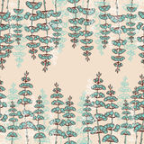 Seamless Patterns with Drawing sprigs of flowers Royalty Free Stock Photo
