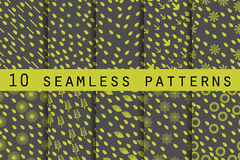 10 seamless patterns with drops. The pattern for wallpaper, tiles, fabrics and designs. Vector illustration Royalty Free Stock Photography