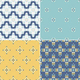 Seamless Patterns. Elegant collection of four geometric seamless patterns. Ornamental background for cards, invitations, web pages. Retro texture or digital Stock Images