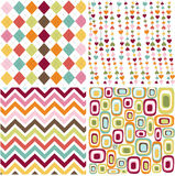 Seamless patterns with fabric texture stock illustration