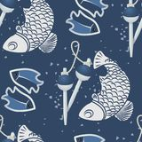 Seamless patterns with fish-03. Seamless pattern with two fish, floats, with grunge texture. Monochrome image with fishing accessories and catch. Vector Royalty Free Stock Photography
