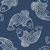 Seamless patterns with fish-01. A seamless pattern with two fish swimming in a circle. Silhouettes of marine animals, monochrome image for printing on fabric royalty free illustration