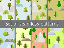 Seamless patterns with flat trees, tents and mountains. Adventures and trekking. Vector. Illustration Stock Photo