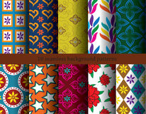 Seamless patterns flora. Ten seamless patterns background flora vector Stock Image