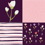 Seamless patterns, floral design elements Stock Image