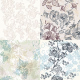 Seamless patterns with floral ornament in soft classic colors Royalty Free Stock Photos
