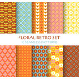 10 Seamless Patterns - Floral Retro Royalty Free Stock Photos