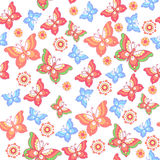 Seamless patterns. Flowers, butterflies. Floral wallpaper. Decorative ornament for fabric, textile, wrapping paper. Royalty Free Stock Photography
