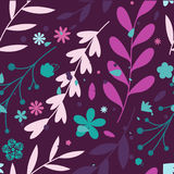 Seamless patterns with flowers and leaves Royalty Free Stock Photo