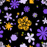 Seamless patterns with flowers and leaves Stock Photography