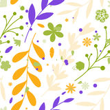Seamless patterns with flowers and leaves Royalty Free Stock Photos