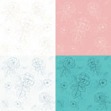 Seamless patterns of flowers. Seamless patterns of roses with leafs in various colors Stock Image