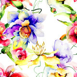 Seamless patterns with flowers Stock Photo