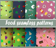Seamless patterns with food Royalty Free Stock Photos