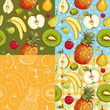 Seamless patterns with fruits Royalty Free Stock Photos