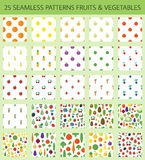 Seamless patterns with fruits and vegetables Royalty Free Stock Images