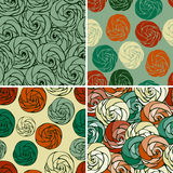 Seamless Patterns with Funky Roses Stock Photos