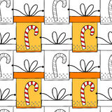 Seamless patterns with gift boxes for coloring book. Festive background Stock Photos