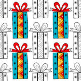 Seamless patterns with gift boxes for coloring book. Festive background. Seamless patterns with gift boxes for coloring book, page. Festive background Royalty Free Stock Image