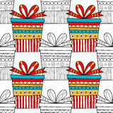 Seamless patterns with gift boxes for coloring book. Festive background. Seamless patterns with gift boxes for coloring book, page. Festive background Stock Photo