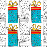Seamless patterns with gift boxes for coloring book. Festive background Stock Photography