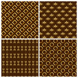 Seamless patterns with gold ornaments. Vector illu Stock Photography