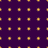 Seamless patterns with gold stars on purple background. Vector i. Llustration Royalty Free Stock Images