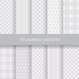 10  seamless patterns. 10 gray  vector seamless patterns. Endless texture can be used for wallpaper, pattern fills, web page background Royalty Free Stock Photo
