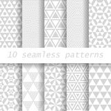 10  seamless patterns. 10 gray  vector seamless patterns. Endless texture can be used for wallpaper, pattern fills, web page background Stock Photo