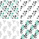 Seamless patterns with green and black florals Stock Photos