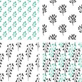 Seamless patterns with green and black florals Stock Photography