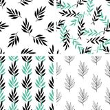 Seamless patterns with green leaves Stock Images