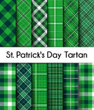 12 Seamless Patterns Green St. Patrick`s Day Plaid Stock Images