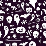 Seamless patterns of Halloween symbols Royalty Free Stock Photos