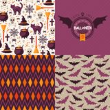 Seamless patterns of Halloween symbols and label. Stock Photography