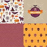Seamless patterns of Halloween symbols and label. Royalty Free Stock Image