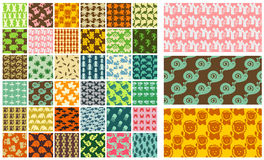 36 seamless patterns - hand drawn animals Royalty Free Stock Images