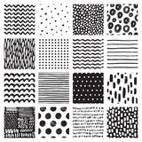 Seamless patterns with hand drawn scribble and spot. Black and white abstract background. Vector texture. Stock Photos