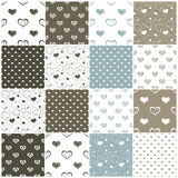 Seamless patterns with hearts. Brown and blue seamless patterns with hearts, vector illustration Royalty Free Stock Photography