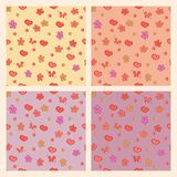 Seamless patterns with hearts, flowers Stock Photos